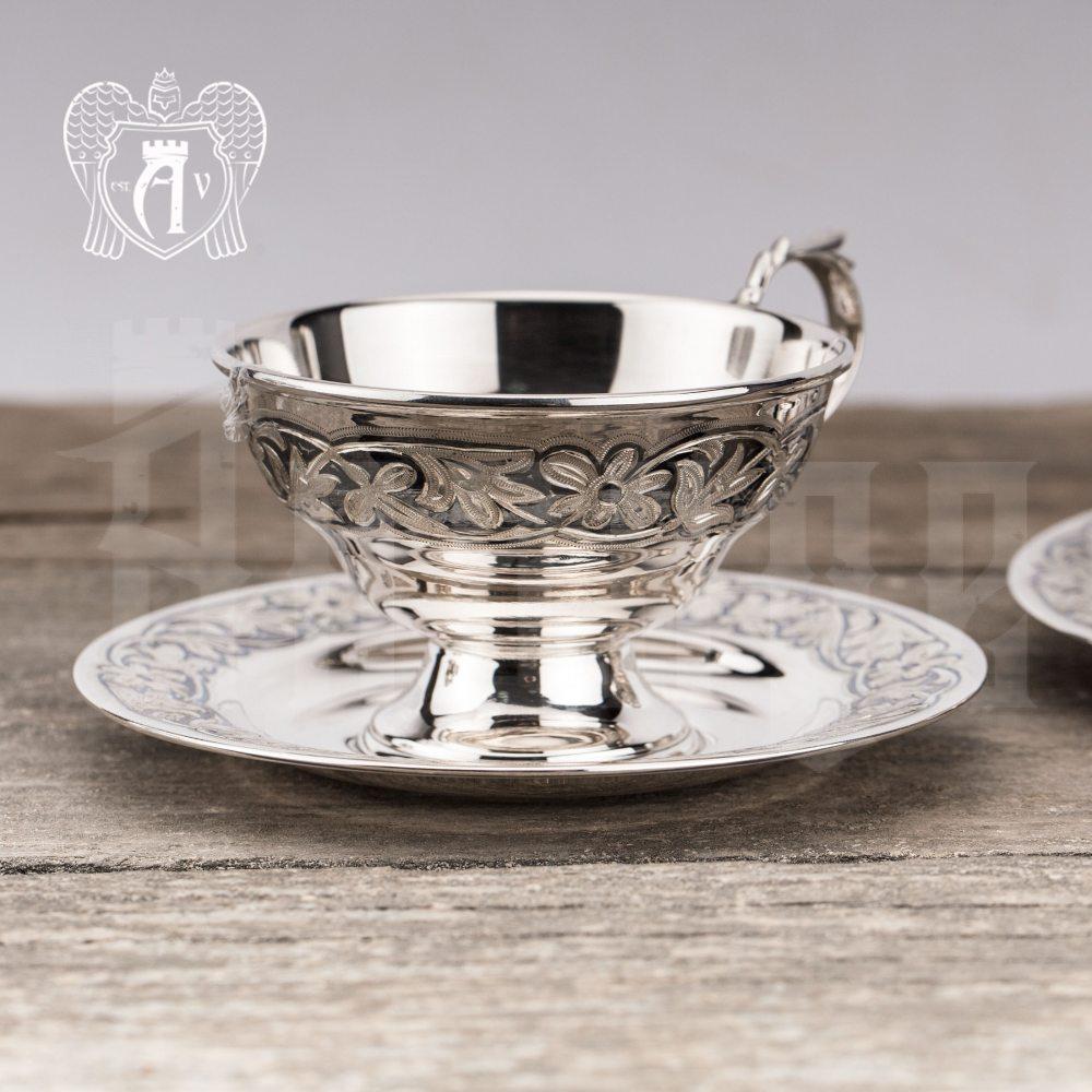 """Чашка с блюдцем из серебра """"Злата"""""""