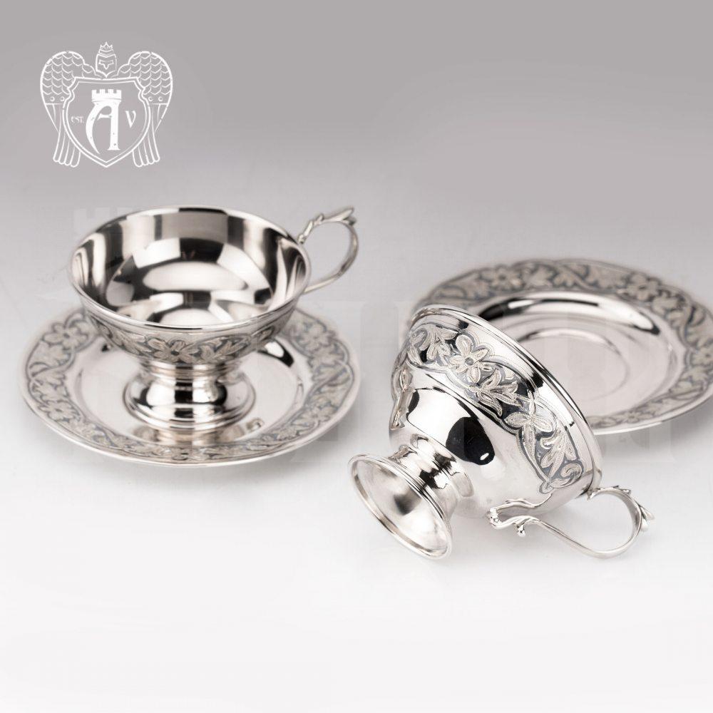 Набор серебряных чашек  «Злата» 2 шт