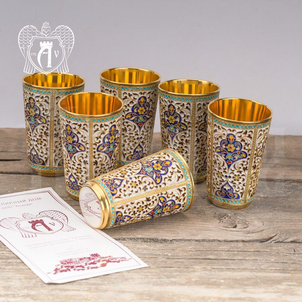 Набор серебряных стаканов «Иллюзион» с золочением и эмалью 6 шт
