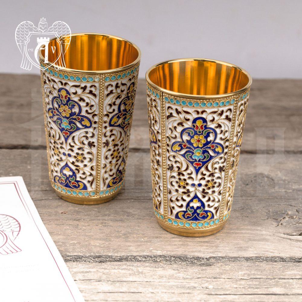 Набор серебряных стаканов «Иллюзион» с золочением и эмалью 2 шт