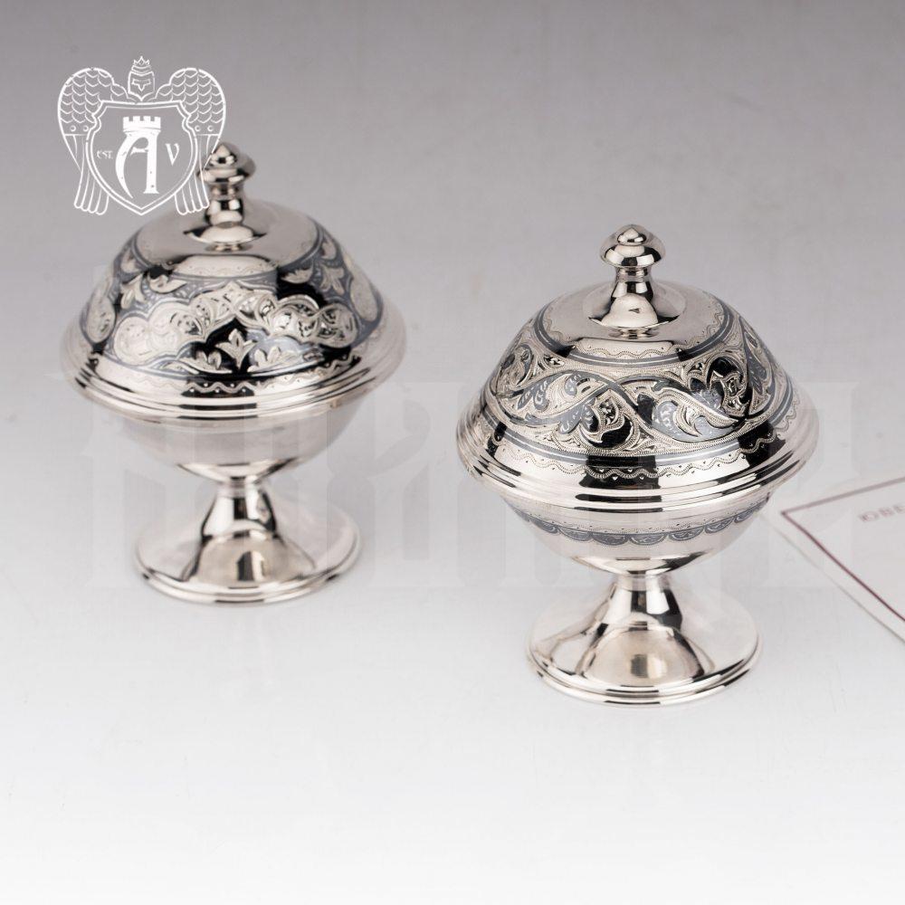 Икорница серебряная «Лоза»