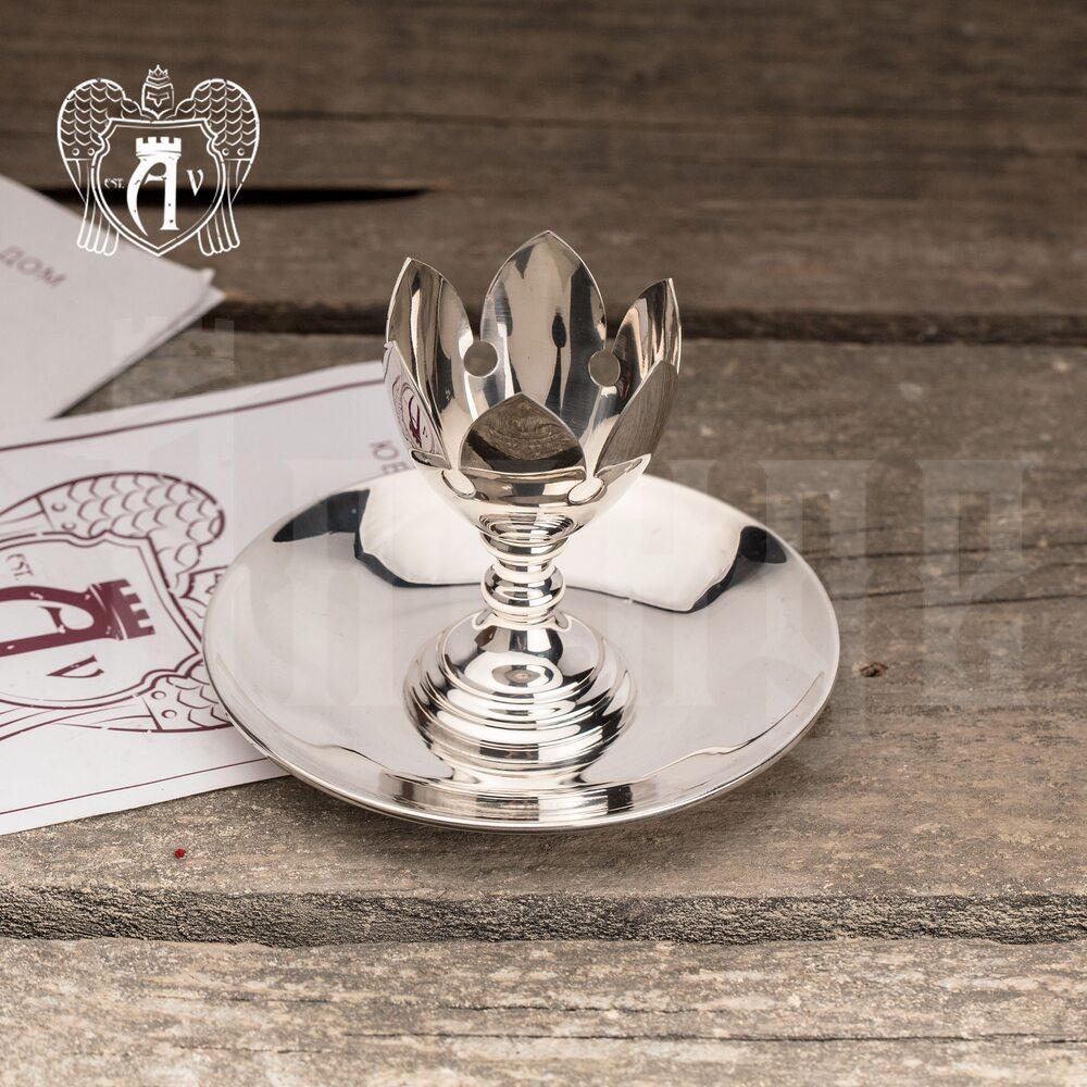 Пашотница серебряная с блюдцем «Сияние»
