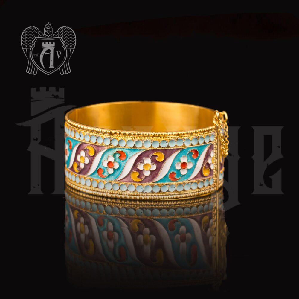 Браслет из серебра «Квилла» с позолотой и эмалью купить в магазине Апанде, 23000423166