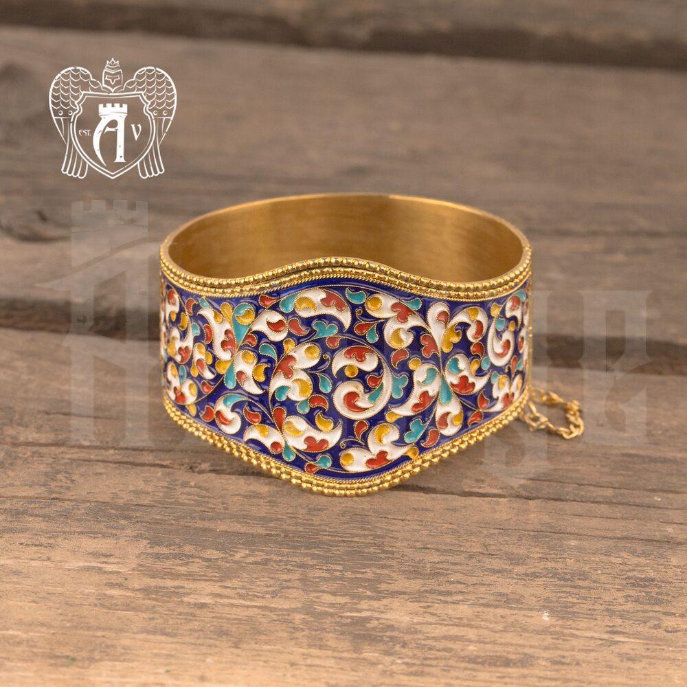 Браслет из серебра «Королевский» с позолотой и эмалью купить в магазине Апанде, 23000423167