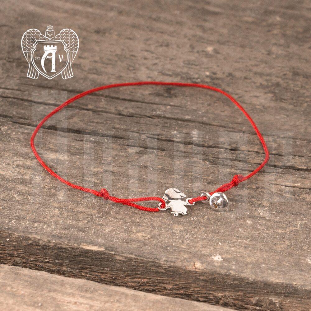 Браслет из серебра на красной нитке  Апанде, 23000423138