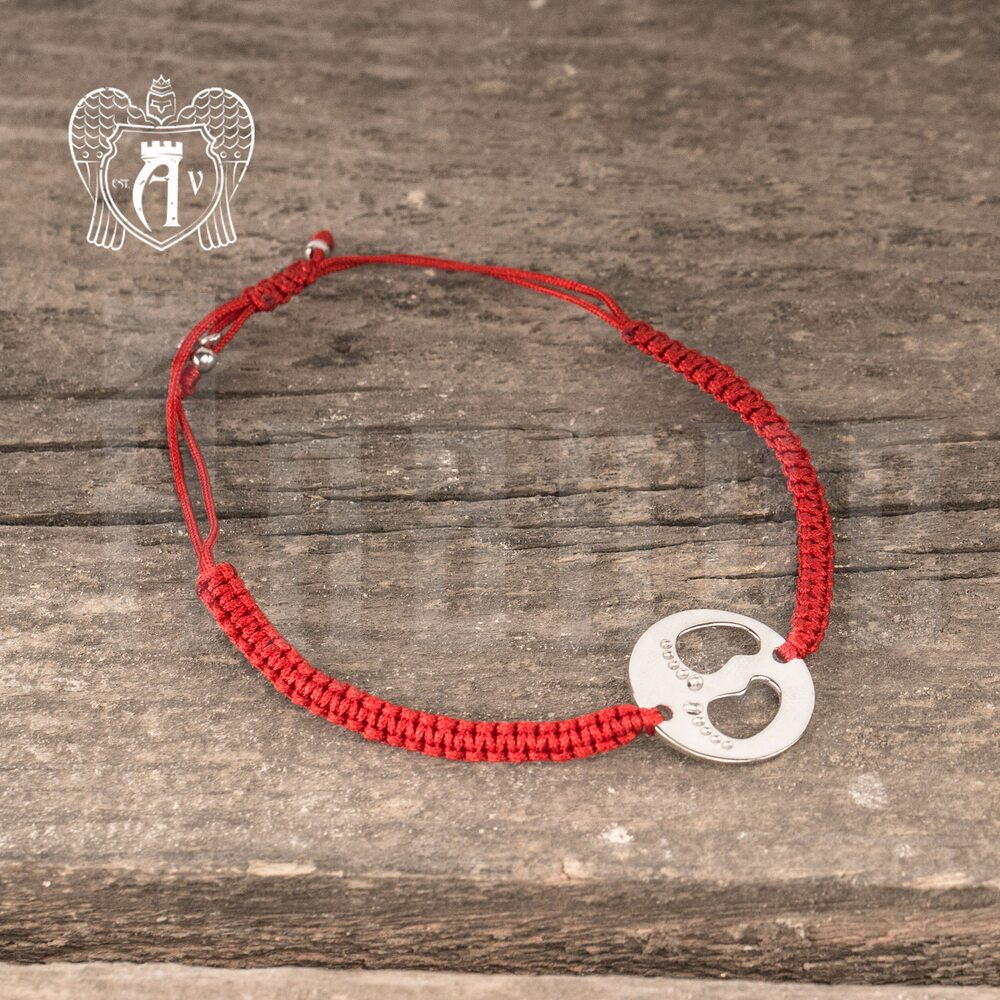Браслет из серебра на красной нитке «Ножки»  Апанде, 23000423139