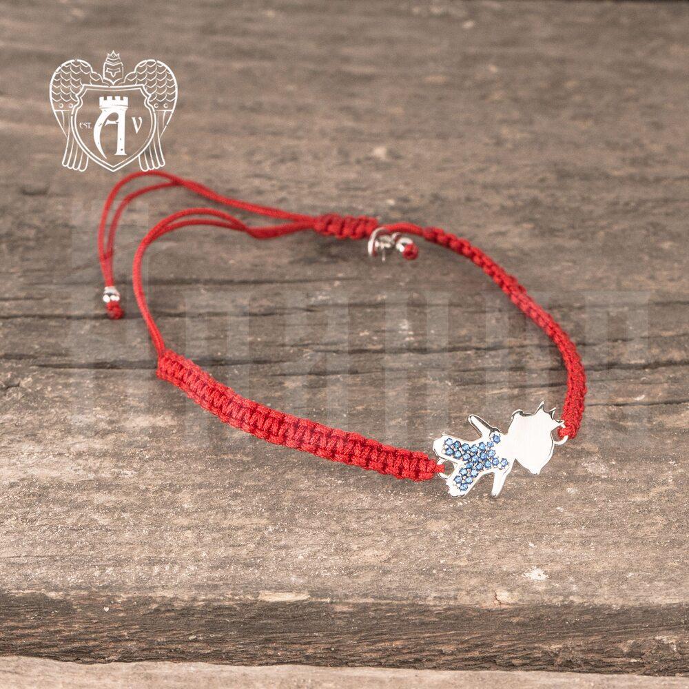 Браслет из серебра на красной нитке «Мальчик»  Апанде, 23000423140