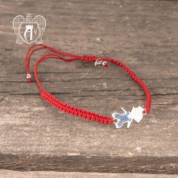 Браслет из серебра на красной нитке «Мальчик»