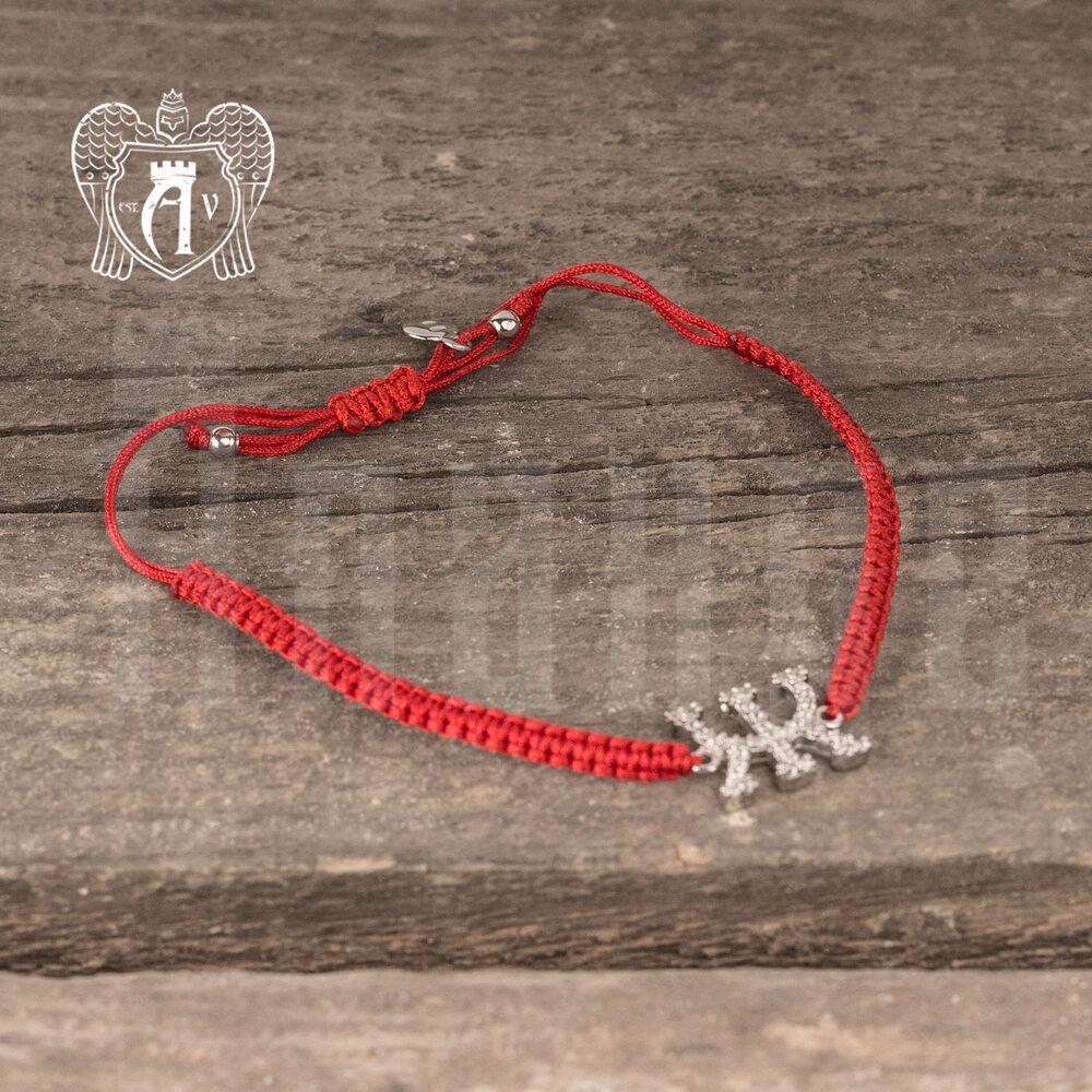 Браслет из серебра на красной нитке буква «Ж»  Апанде, 23000423141