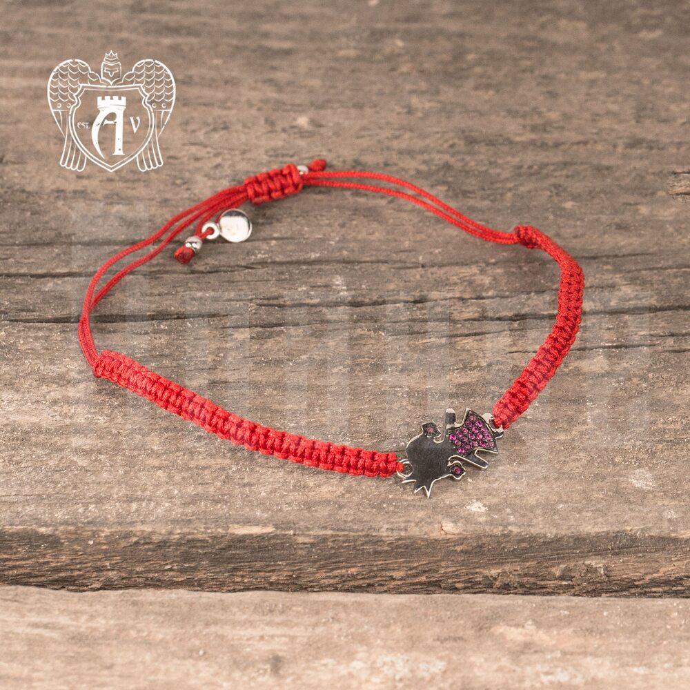 Браслет из серебра на красной нитке «Девочка»  Апанде, 23000423142