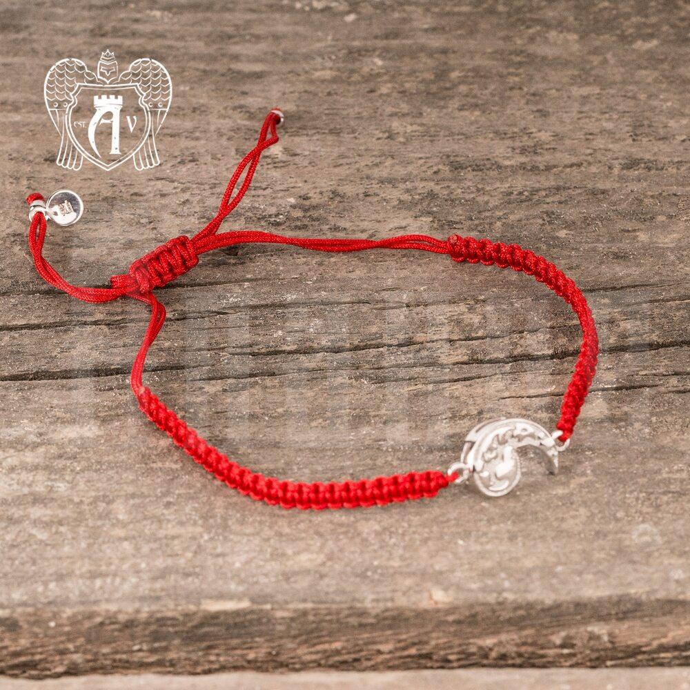 Браслет из серебра на красной нитке  Апанде, 23000423143