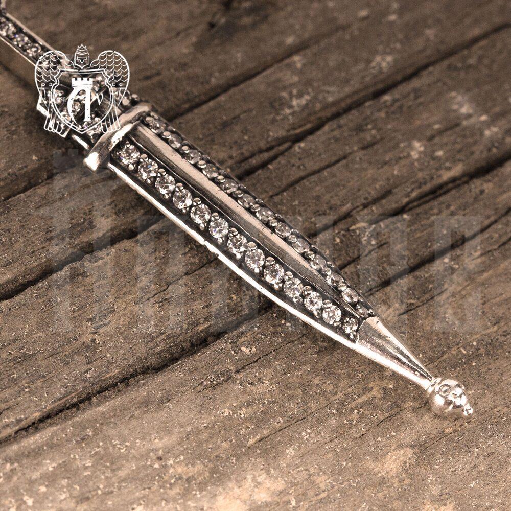 Подвеска с цепью  из серебра «Кинжалик» Апанде, 0100015