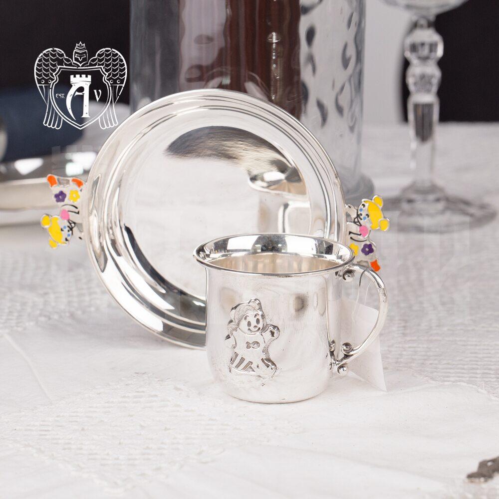 Серебряное детское блюдце «Мишка» с горячей эмалью, 7011002