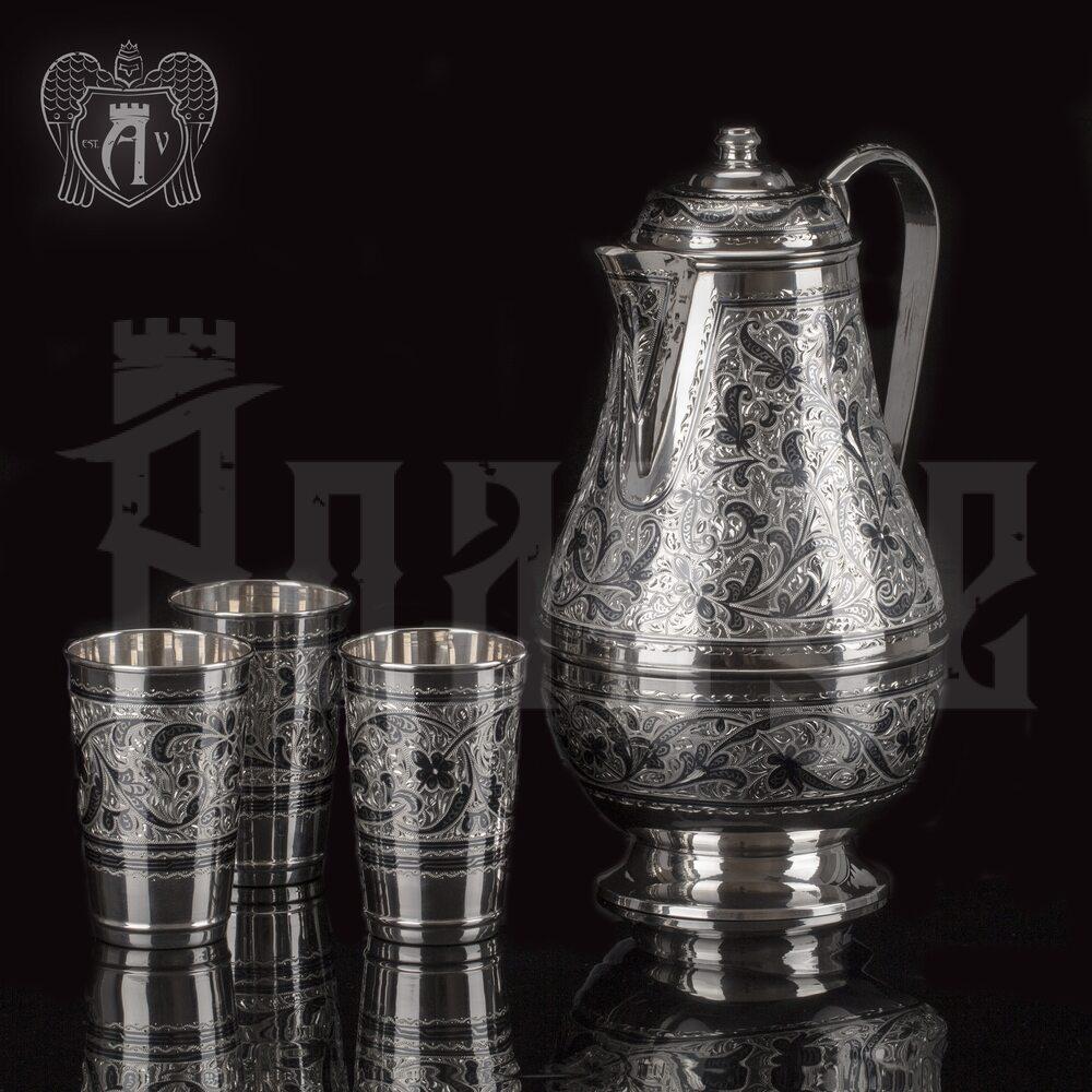 Серебряный сервиз для воды и сока «Мечта», кувшин и три стакана Апанде, 11100989