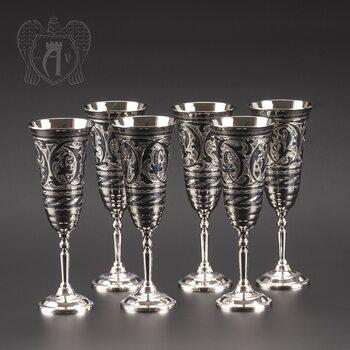 Серебряные фужеры «Вальс» набор 6 шт