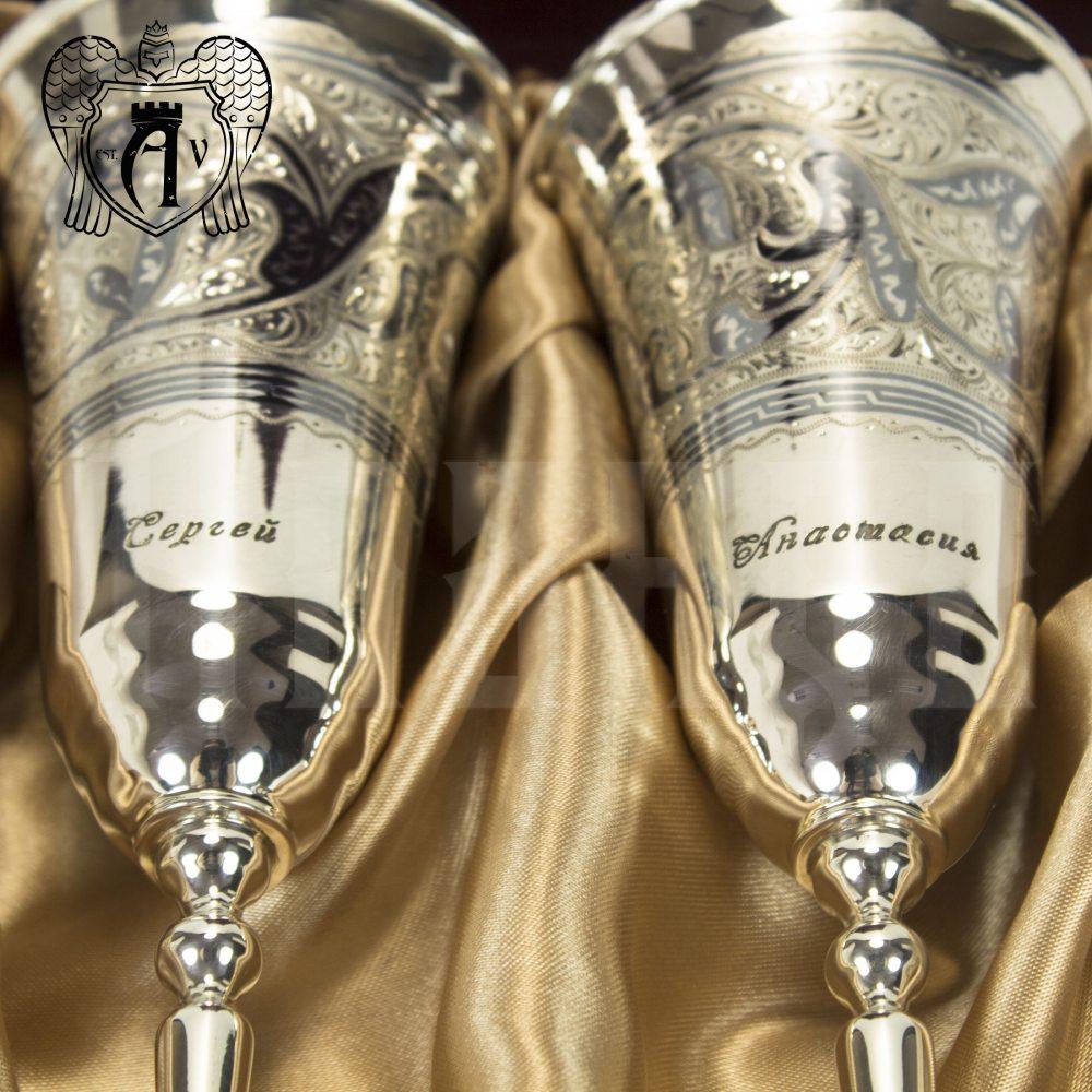 Серебряные фужеры «На счастье» Апанде, 3800413
