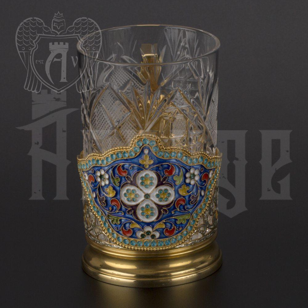 Серебряный подстаканник «Крона» с позолотой Апанде, 880018