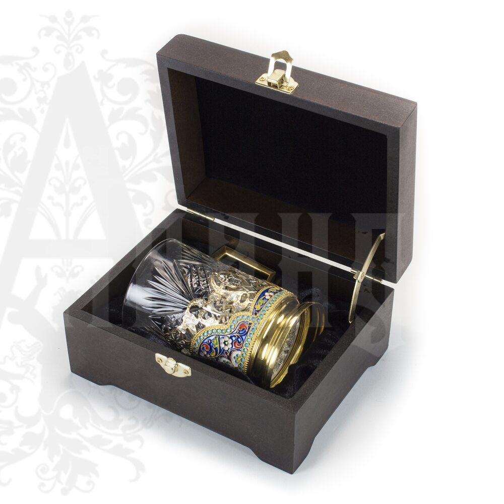 Серебряный подстаканник «Элегант» 200  мл с позолотой  Апанде, 880019