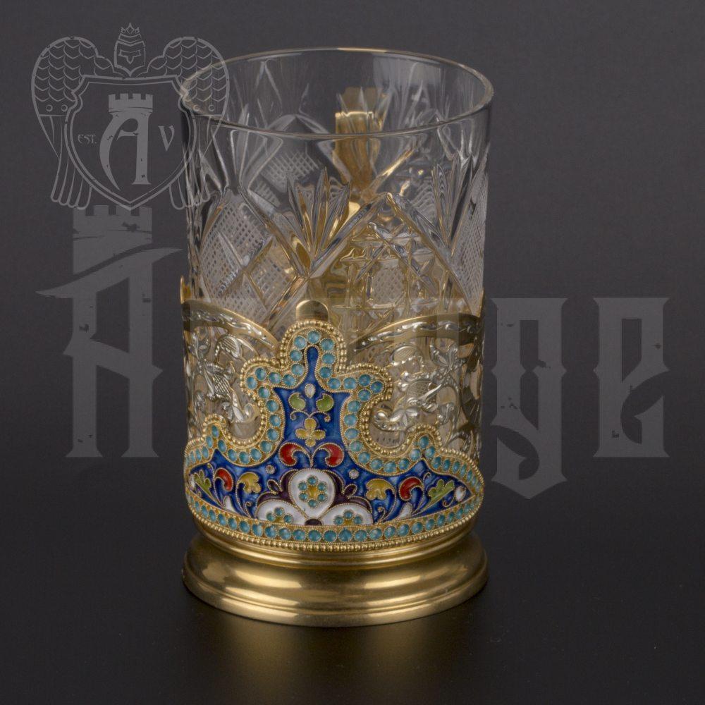 Серебряный подстаканник «Жар-Птица» с позолотой Апанде, 880020
