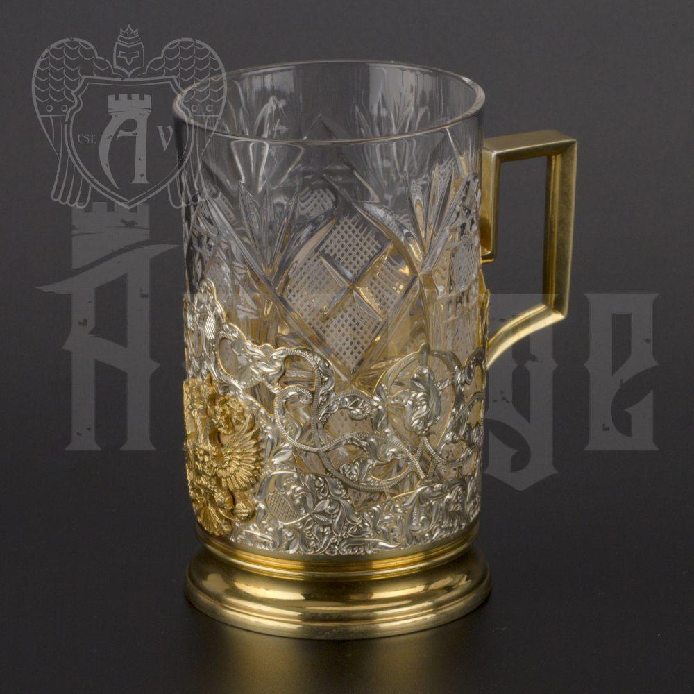 Серебряный подстаканник «Герб России» с позолотой Апанде, 880022