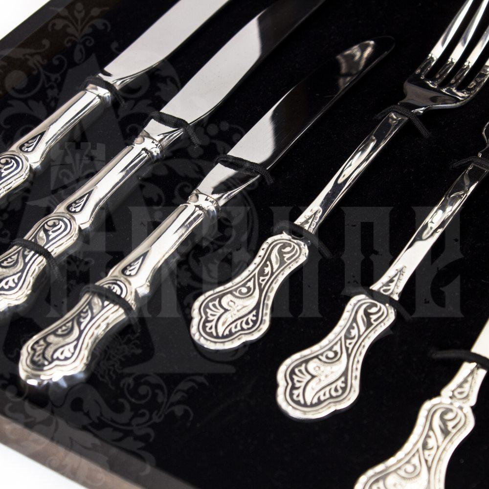 Столовый набор из серебра на 6 персон «Кубачи» 24 предмета Апанде, 220002-24