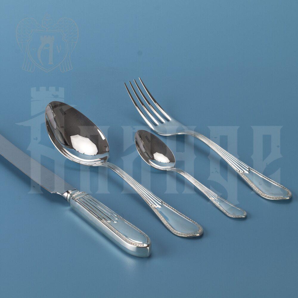 Серебряный столовый набор «Дева» 4 предмета Апанде, 220006