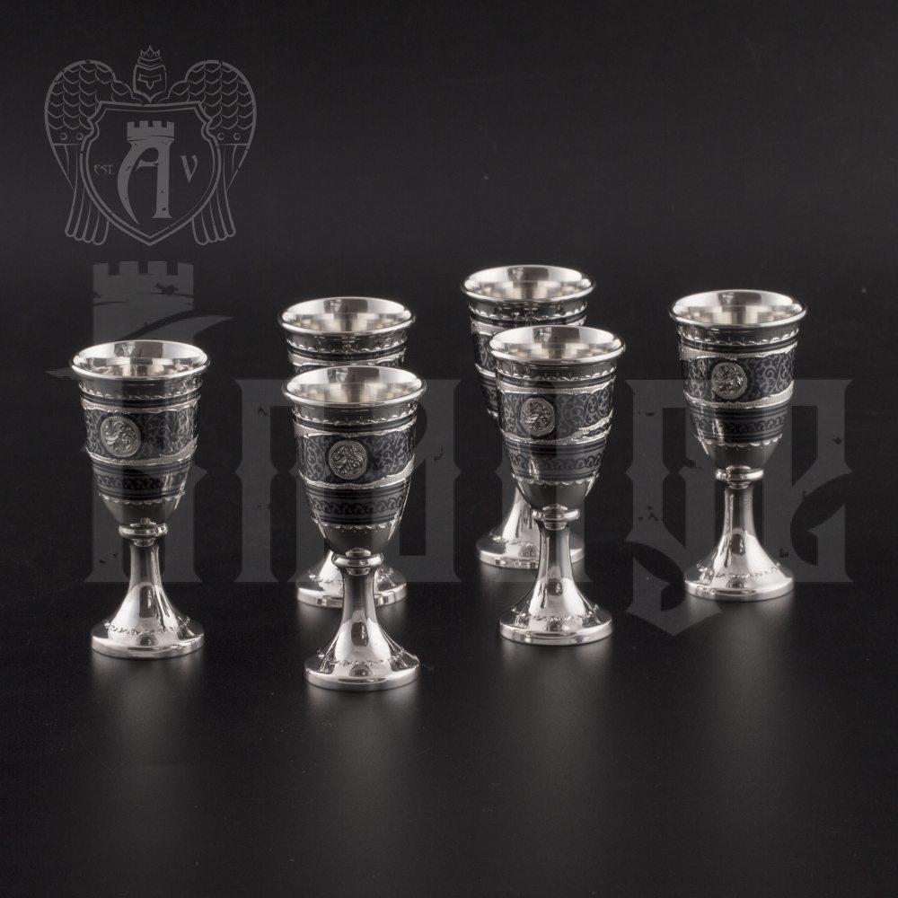Набор серебряных рюмок «Встреча» Апанде, 75000178