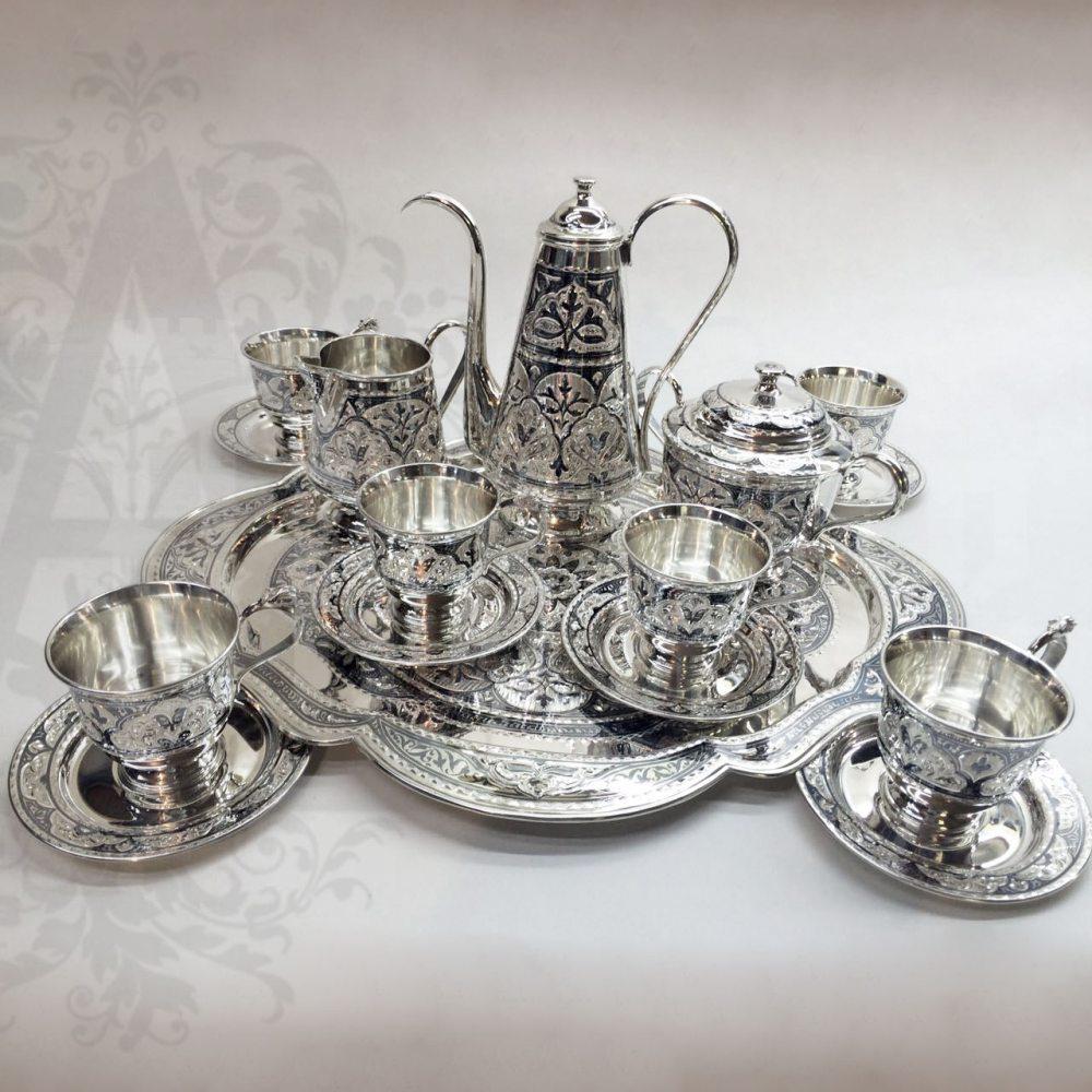 Серебряный сервиз кофейный  «Миледи» 16 предметов Апанде, 11100010
