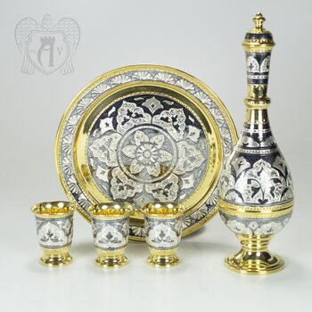 Серебряный сервиз «Шах» с позолотой