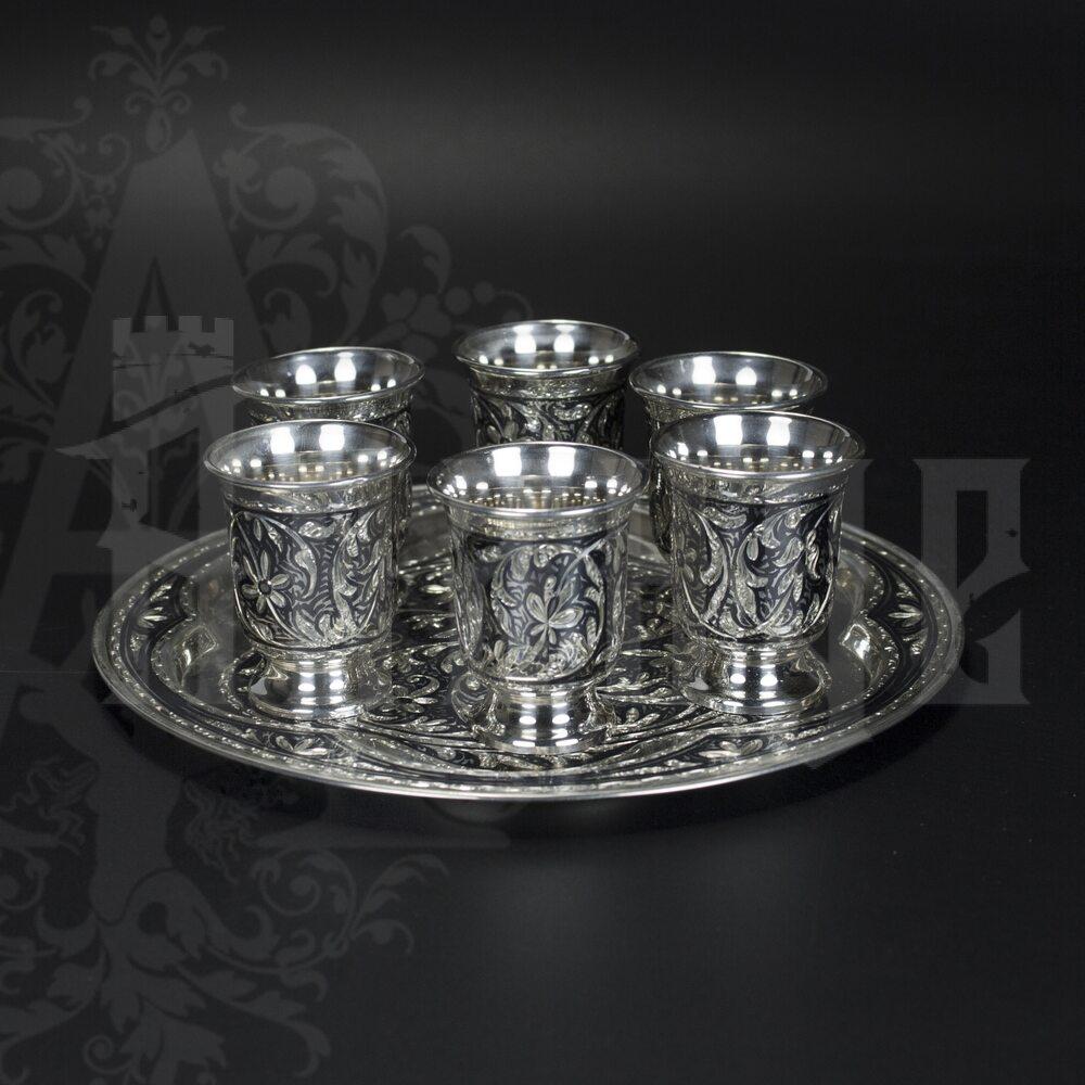 Серебряный набор водочный «Кубачи +» Апанде, 11100554