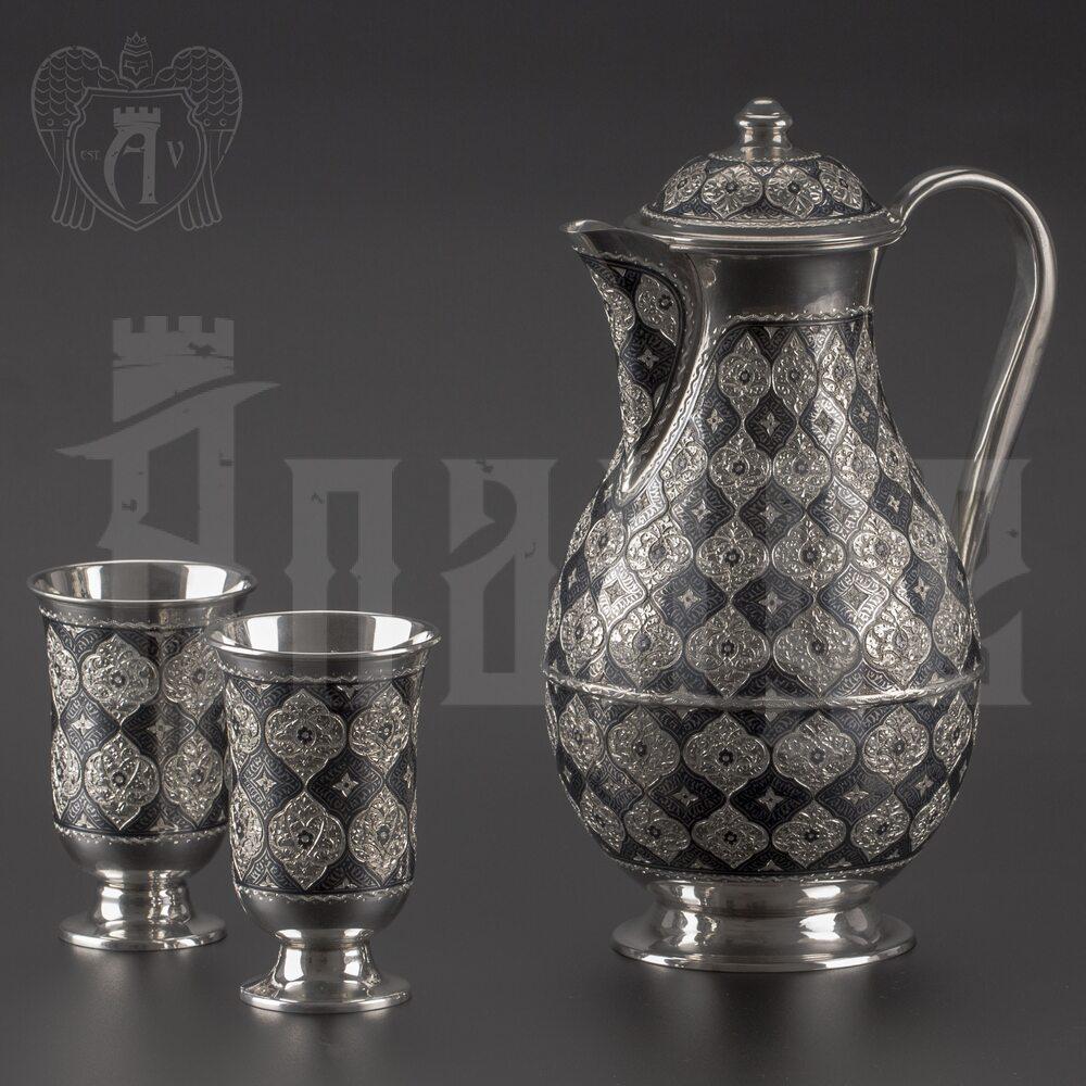 Набор для воды кувшин и два стакана из серебра «Родной дом» Апанде, 11100691