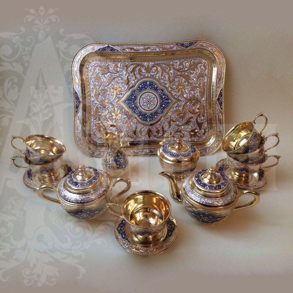 Сервиз серебряный чайный «Кубачи» Апанде, 111049249
