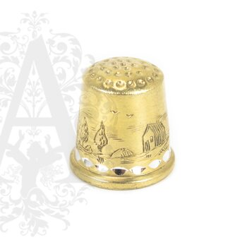 Наперсток серебряный «Мельница» с позолотой
