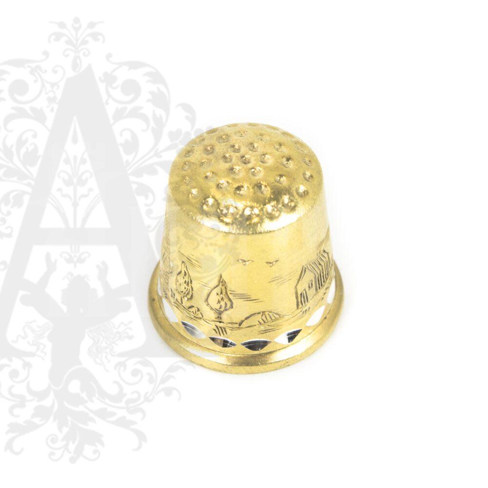 Наперсток серебряный «Мельница» с позолотой Апанде, 7770018