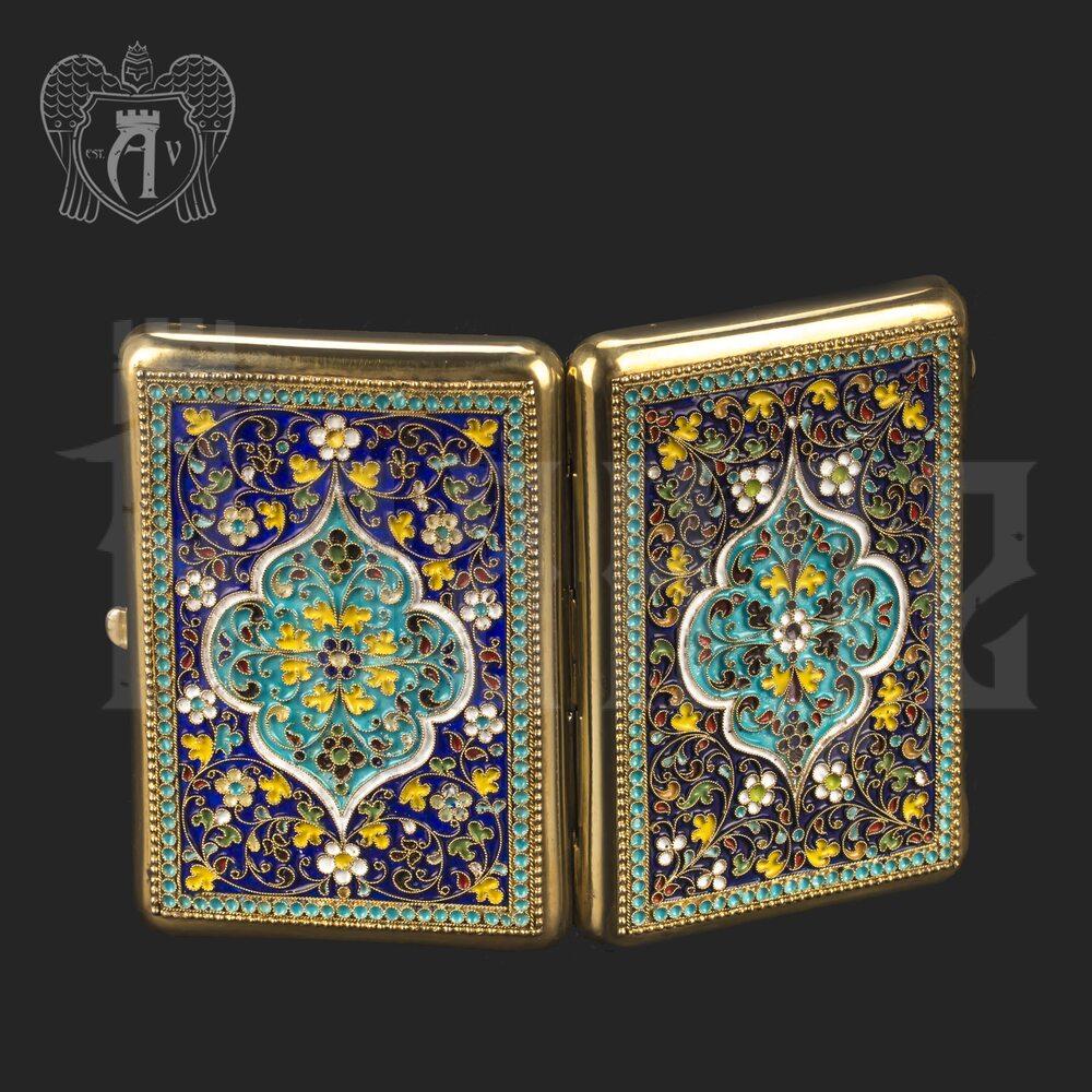 Серебряный портсигар с эмалью «Колорит» Апанде, 53000191
