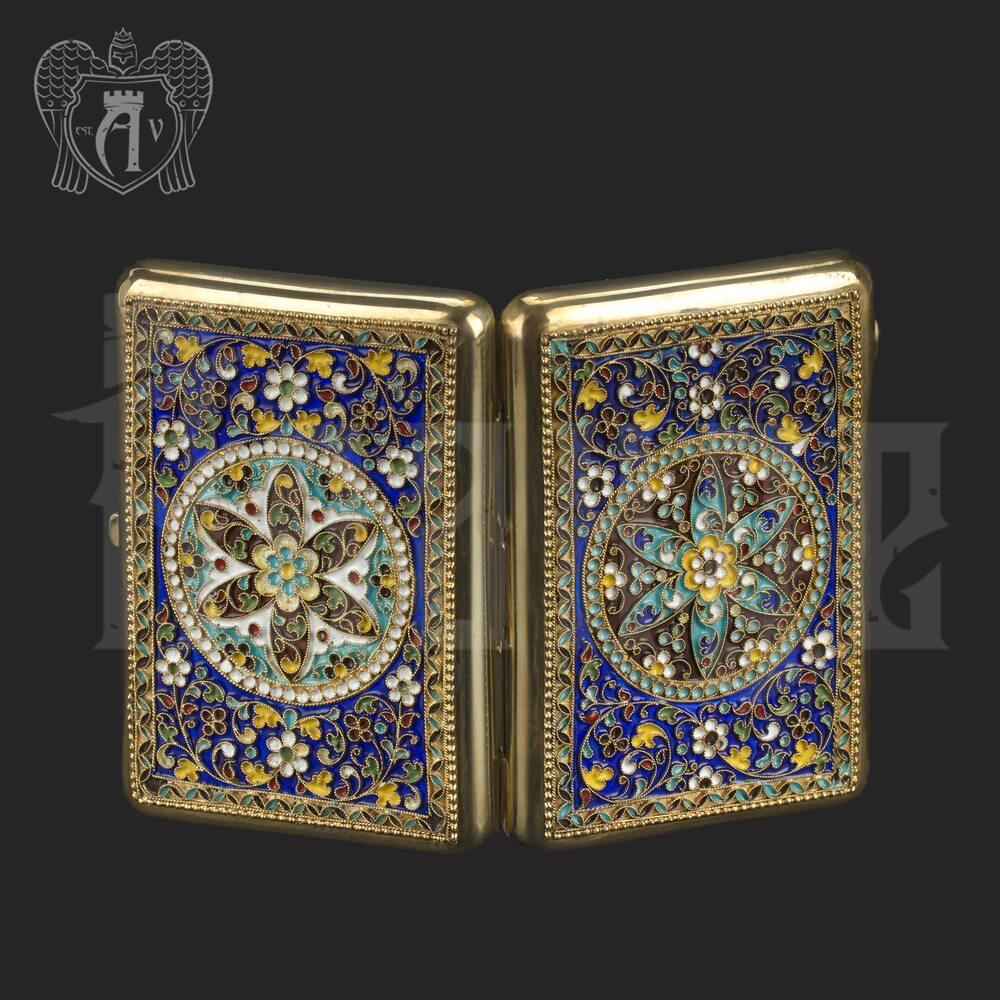 Серебряный портсигар с эмалью «Гелиос» Апанде, 53000192