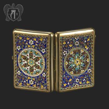 Серебряный портсигар с эмалью «Гелиос»