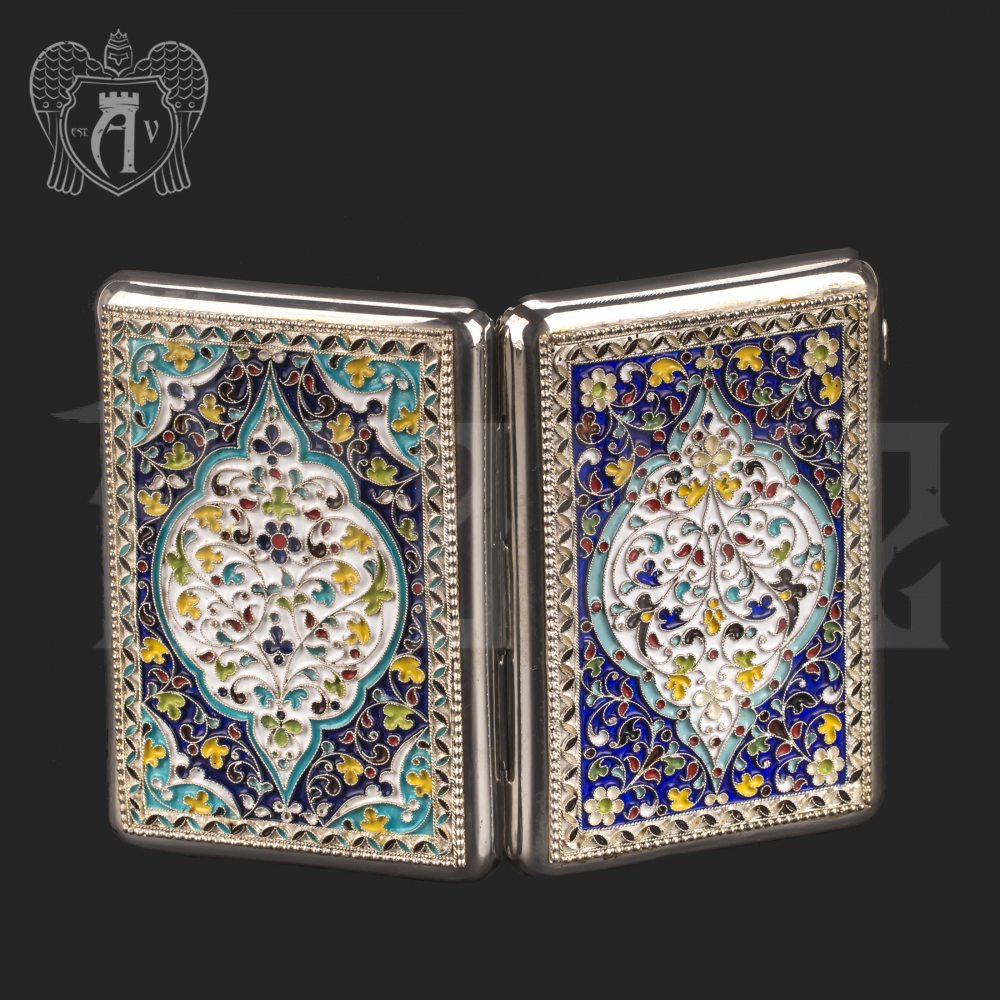 Серебряный портсигар с эмалью без позолоты «Seahunter» Апанде, 53000199