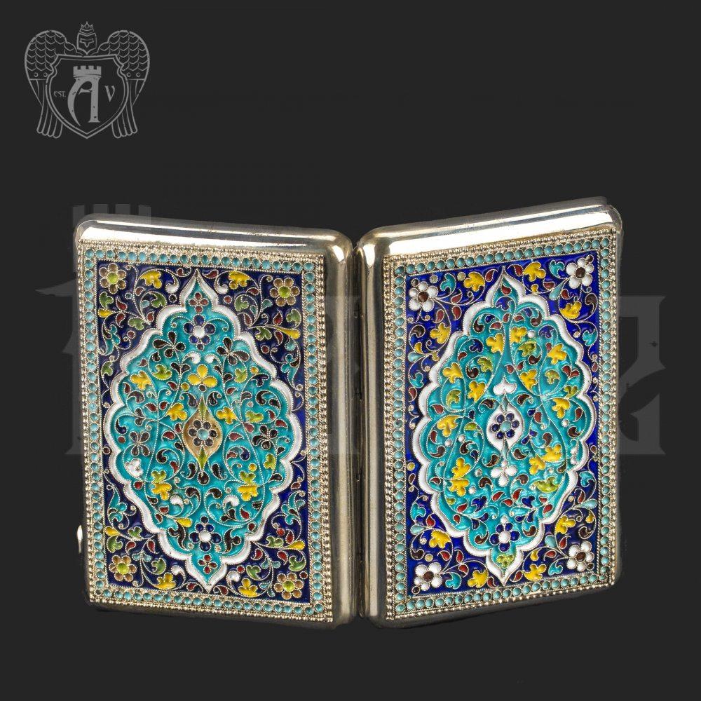 Серебряный портсигар с эмалью без позолоты «Кубачи» Апанде, 53000200