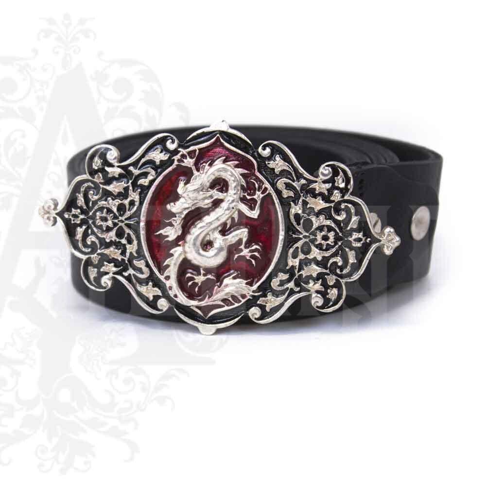 Ремень с серебряной пряжкой «Дракон» Апанде, 88800132