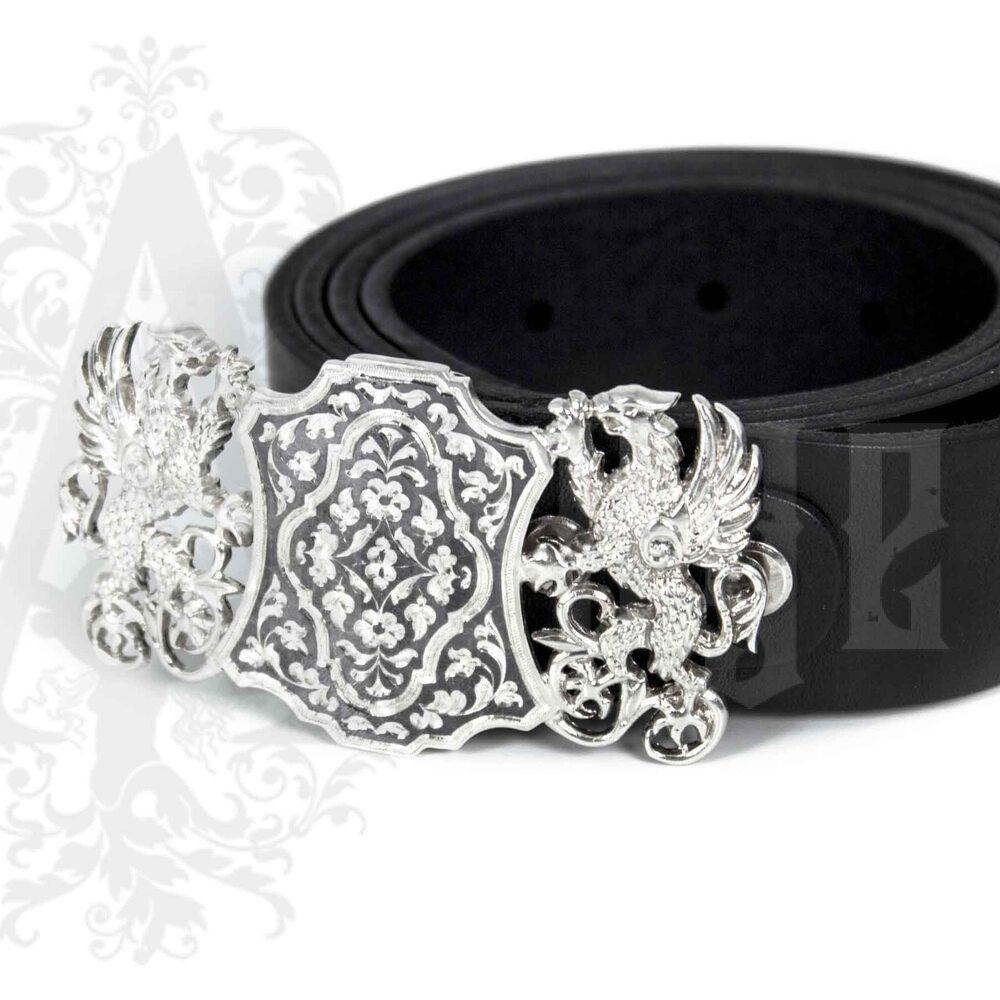 Ремень с серебряной пряжкой «Единство» Апанде, 88800133