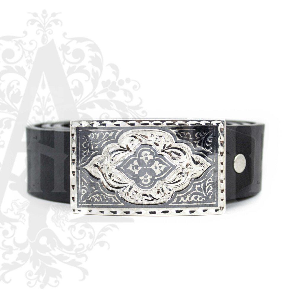 Ремень с серебряной пряжкой «Ancona» Апанде, 88800135