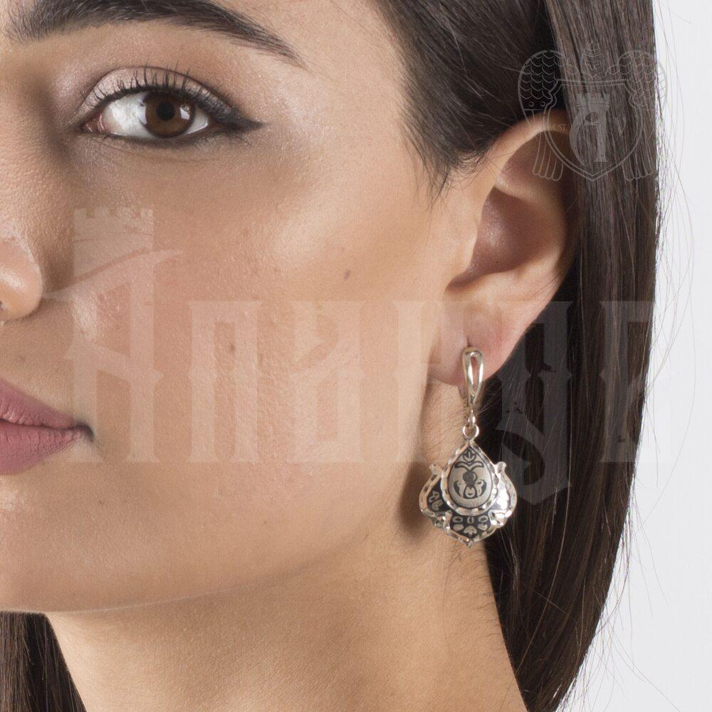 Серьги кубачинские с чернью «Нежность» Апанде, 80010013