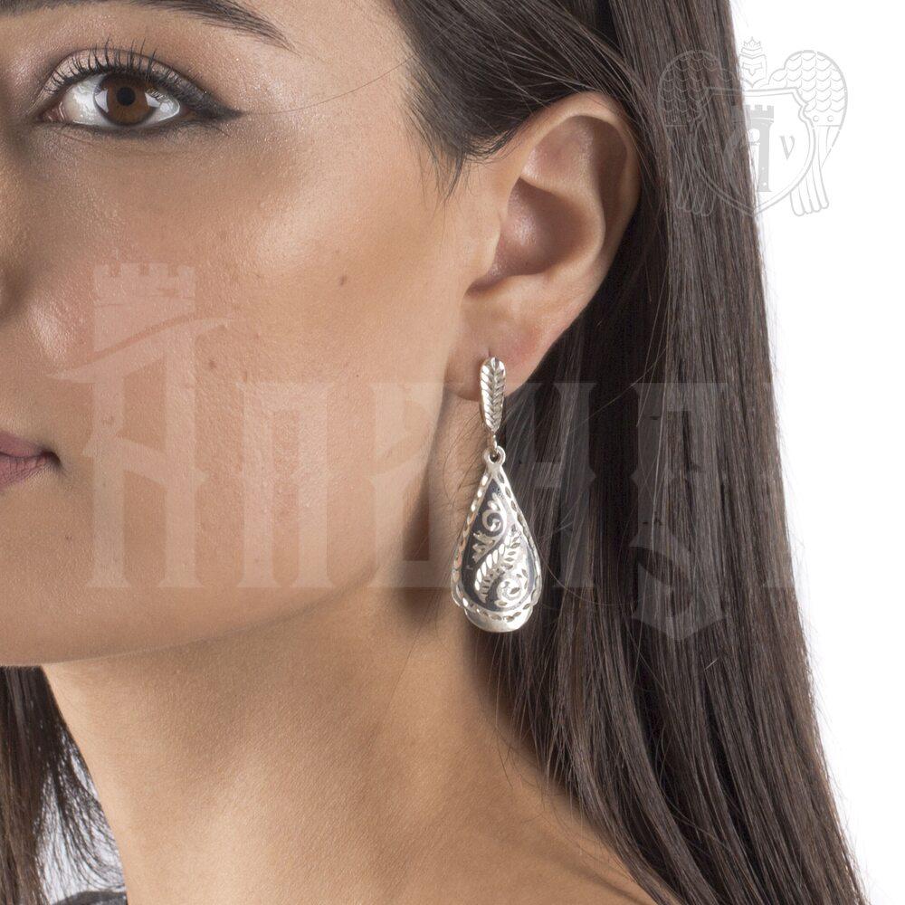 Серьги кубачинские с чернью «Капелька» Апанде, 80010015
