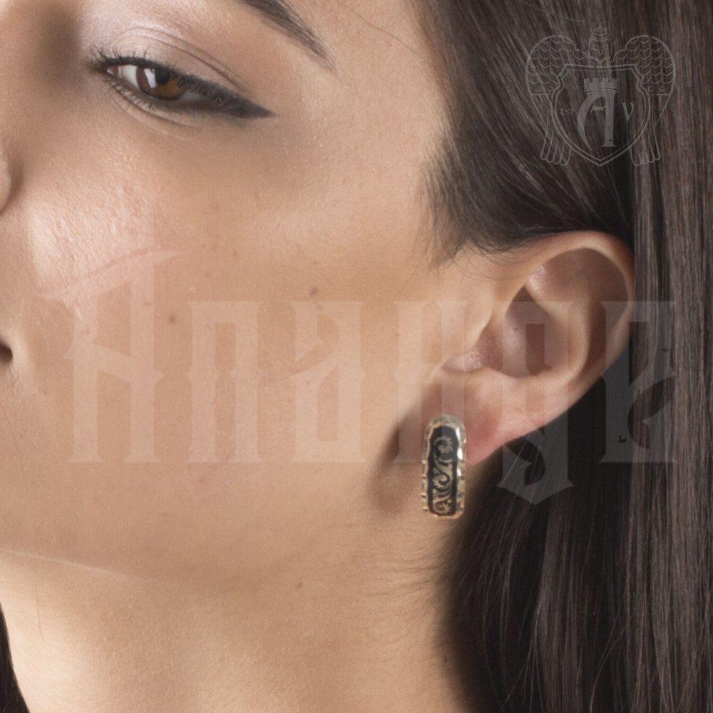 Серьги кубачинские с чернью «Грация» Апанде, 80010016
