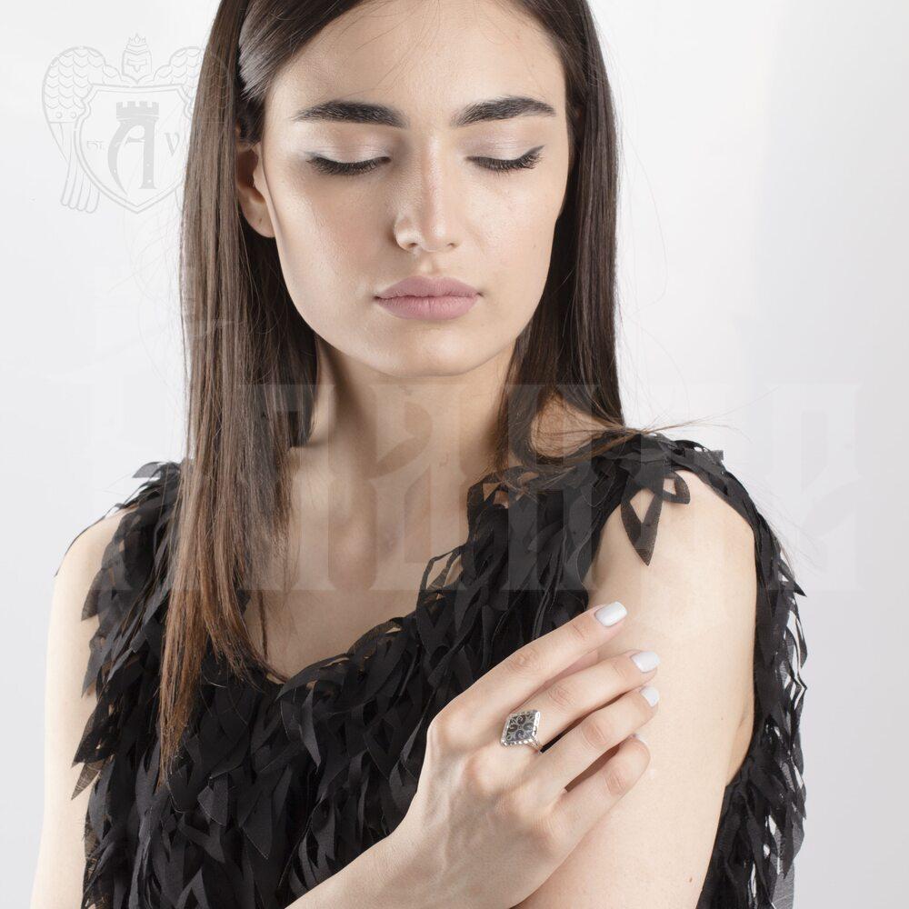 Кольцо кубачинское с чернью «Ромб» Апанде, 82010012