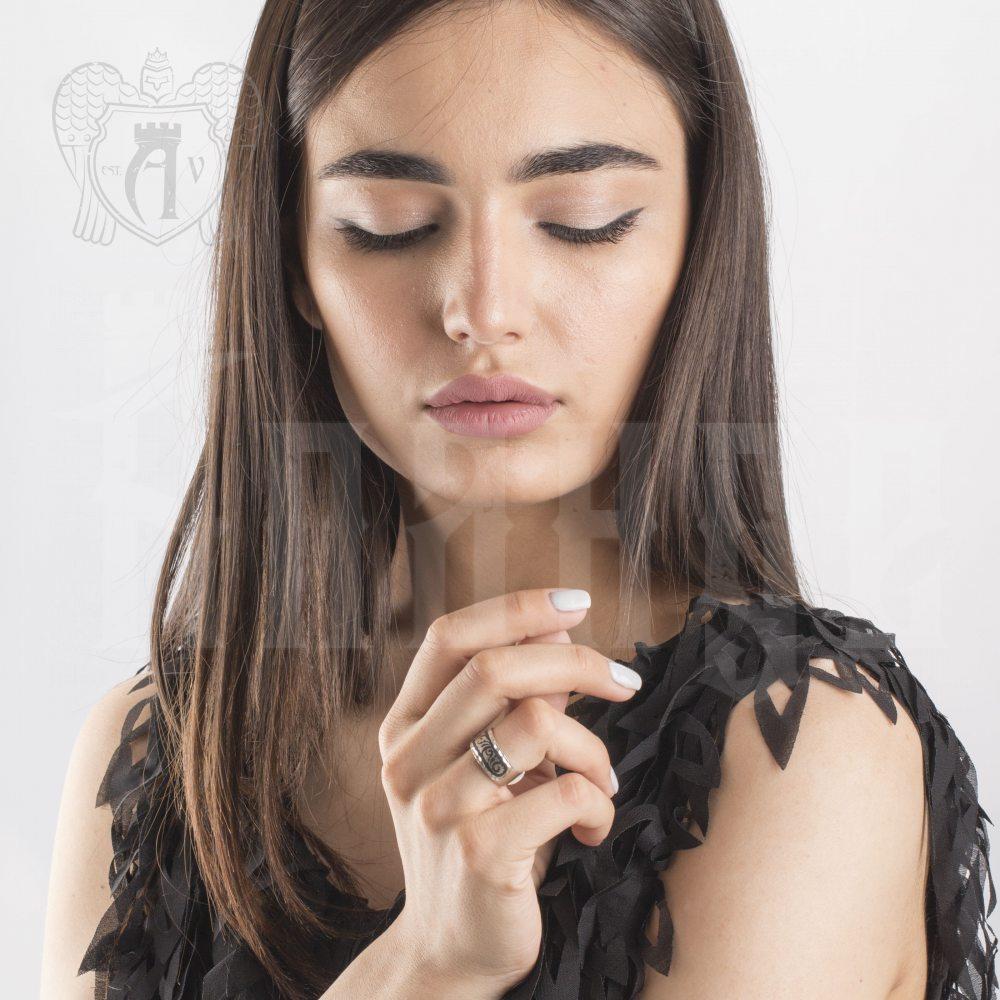 Кольцо кубачинское с чернью «Пламя» Апанде, 82010215