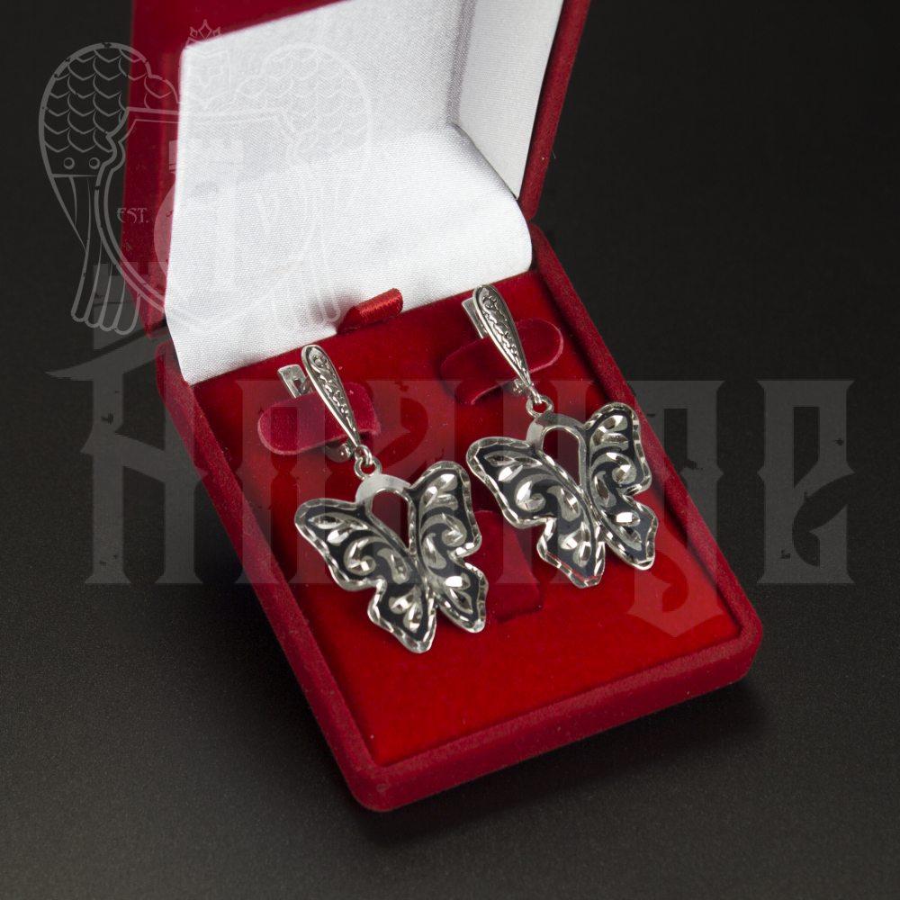 Серебряные серьги «Бабочки» Апанде, 80010002