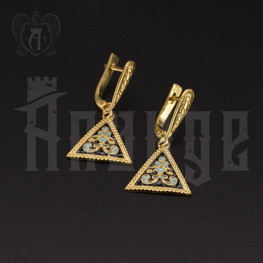 Серьги кубачинские «Треугольник» Апанде, 80010036
